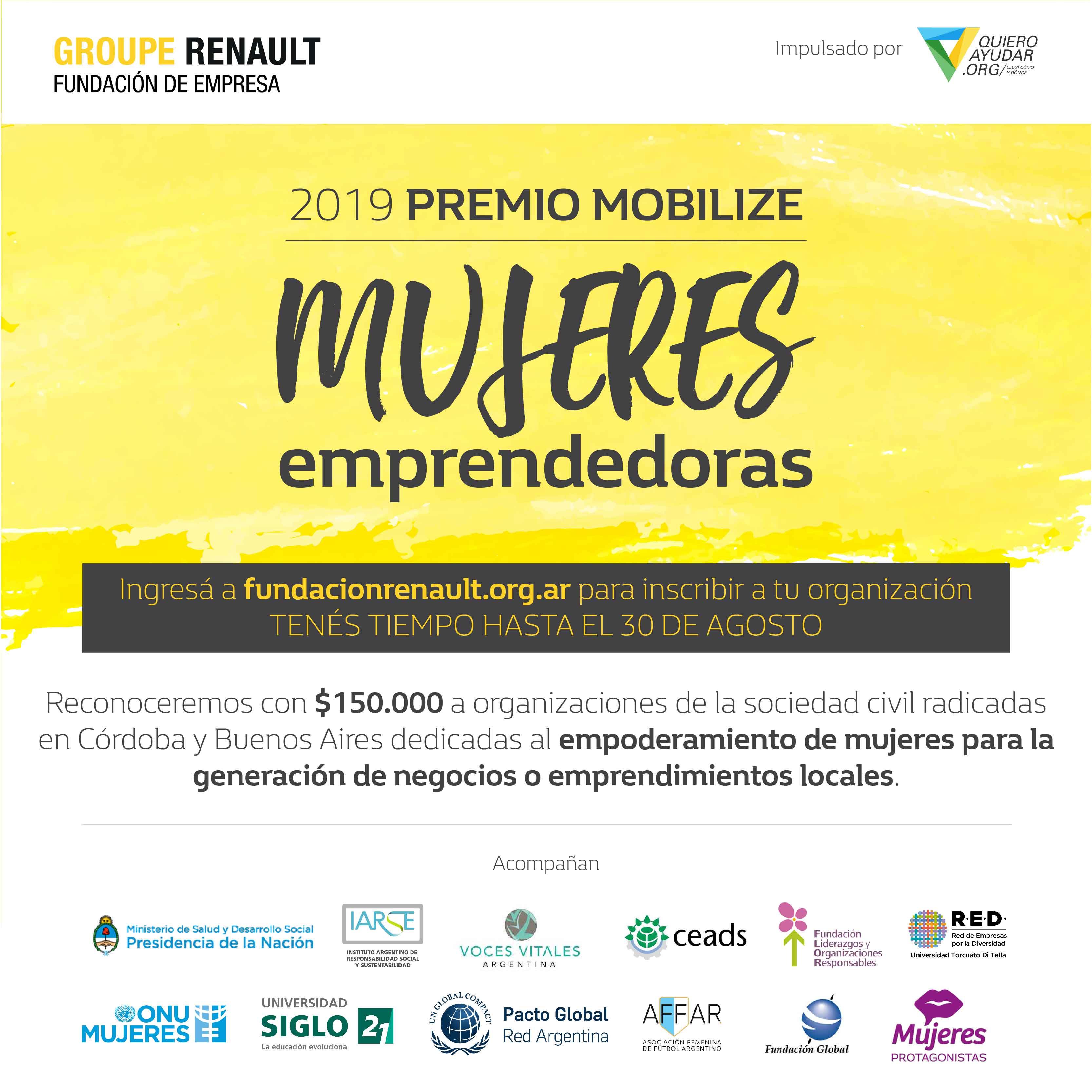 Fundación Renault lanza el Premio Mobilize para mujeres emprendedoras